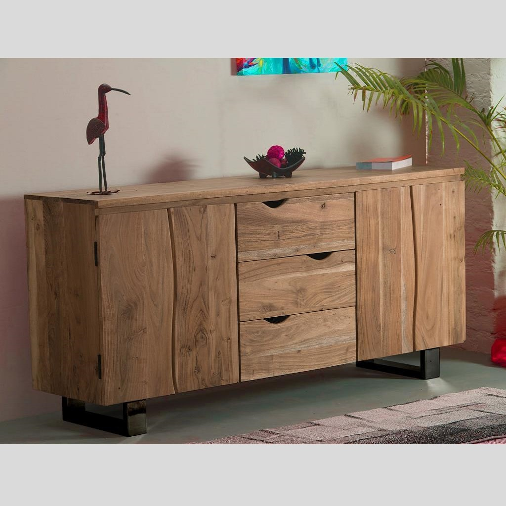 gaya sideboard wohnzimmerschrank schrank anrichte kommode akazie massivholz ebay. Black Bedroom Furniture Sets. Home Design Ideas