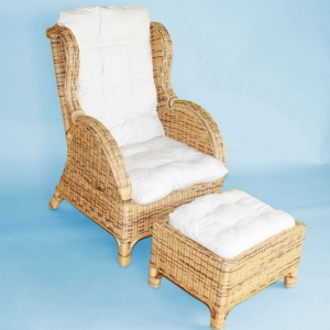Rattansessel 'Wing' inkl. Hocker | Rattan Honey-Colored | Ohrensessel Korbsessel