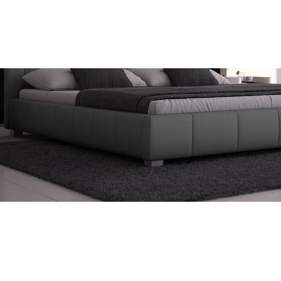 doppelbett 180x200 designerbett polsterbett ehebett bett kunstleder led grau ebay. Black Bedroom Furniture Sets. Home Design Ideas